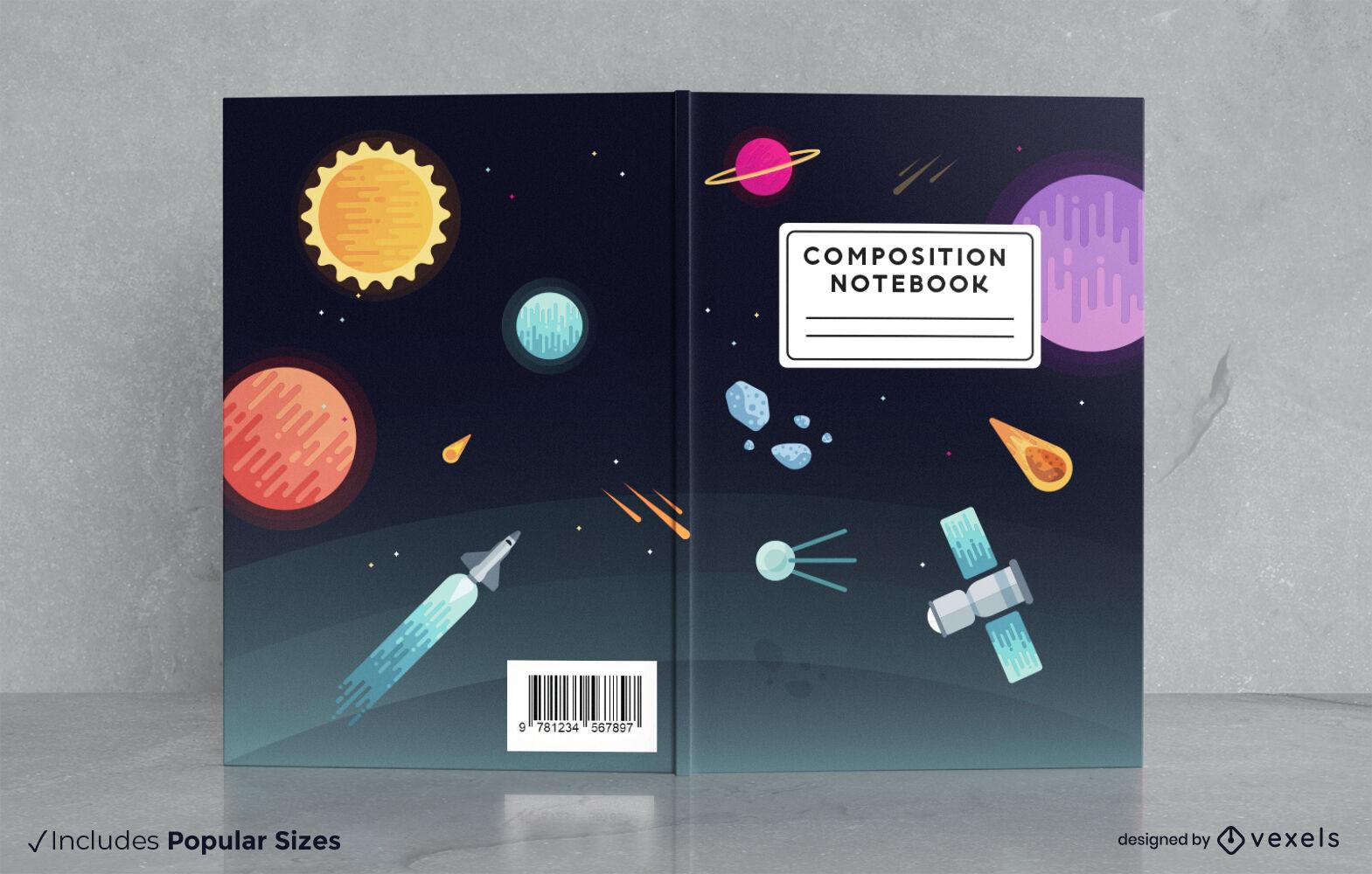 Diseño de portada de libro de planetas espaciales y naves espaciales.