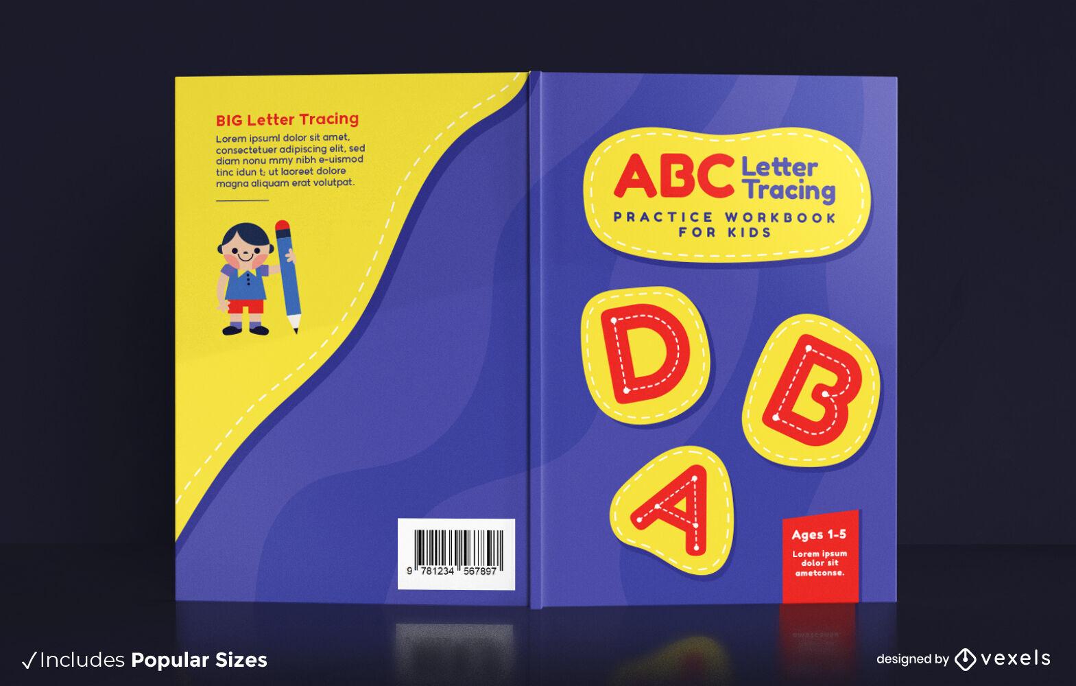 Diseño de portada de libro infantil de seguimiento de letras ABC