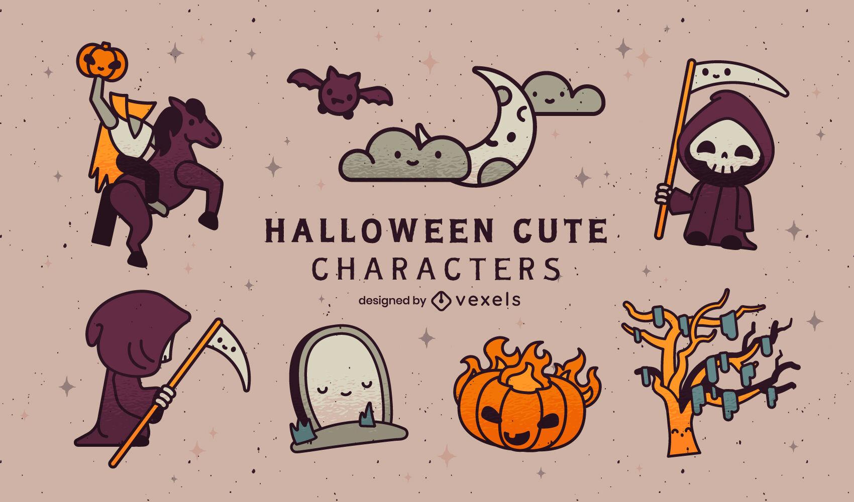 Conjunto de personagens fofinhos da noite de Halloween