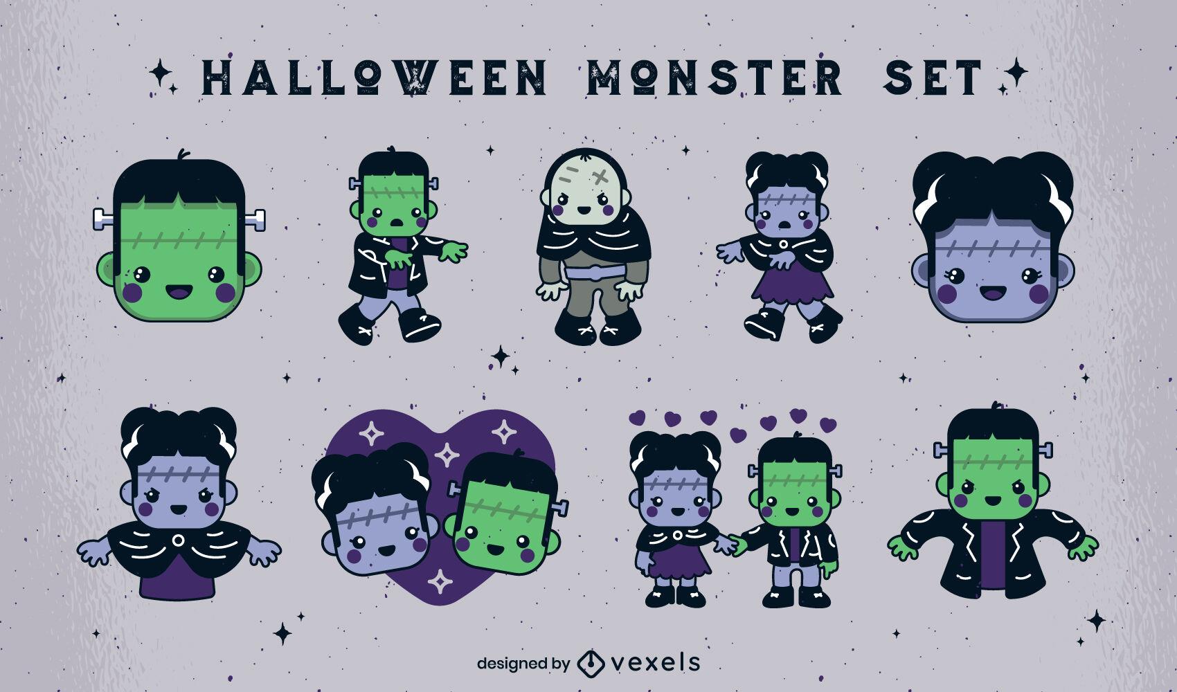 Conjunto de personagens de monstros fofos de Halloween