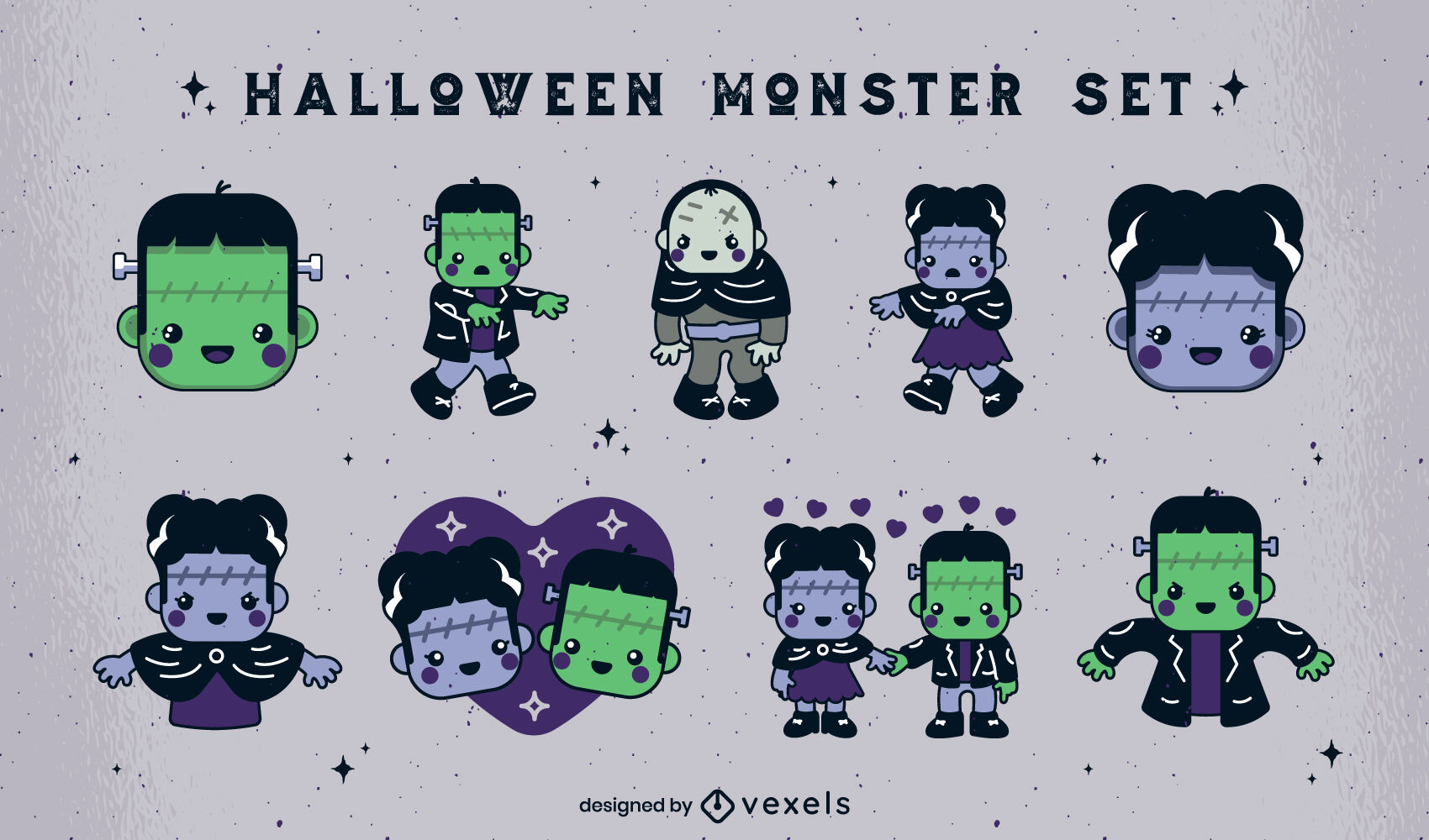 Halloween cute monster characters set