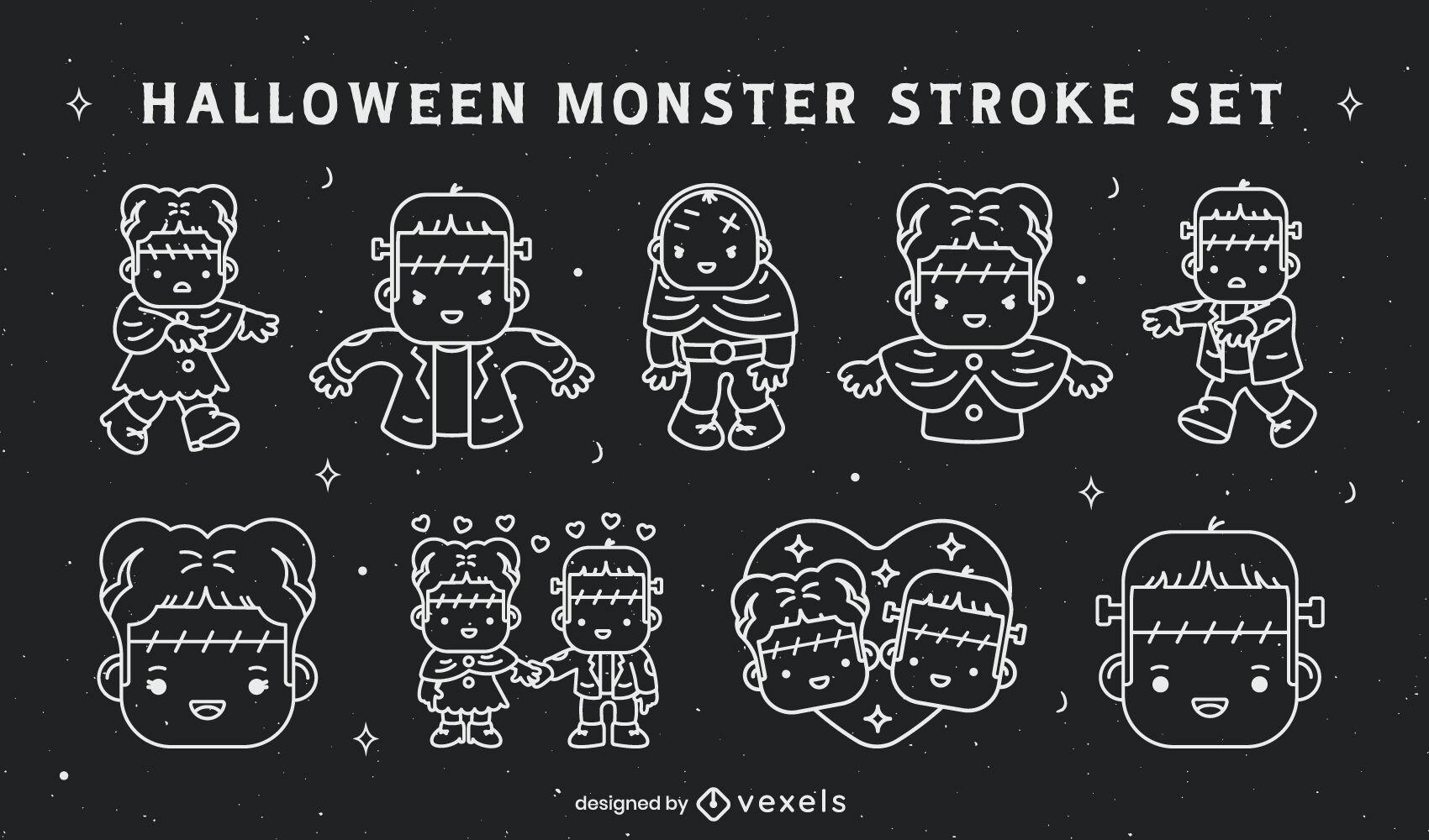 Halloween cute monster characters stroke set