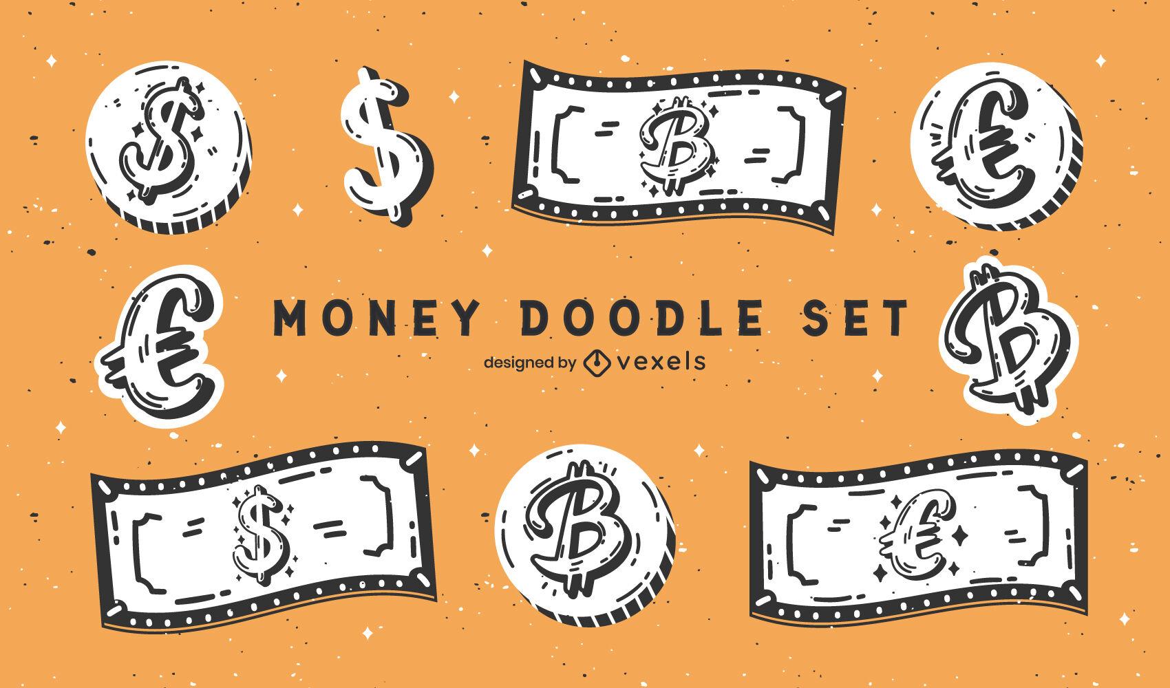 Billetes y monedas dinero pago doodle conjunto