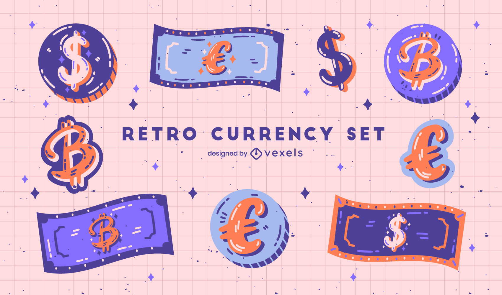 Conjunto retro de pagamento de dinheiro de notas e moedas