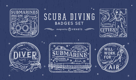 Scuba diving hobby line art badge set