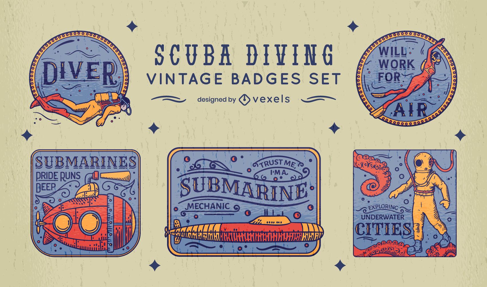 Conjunto de crachá vintage de mergulho autônomo