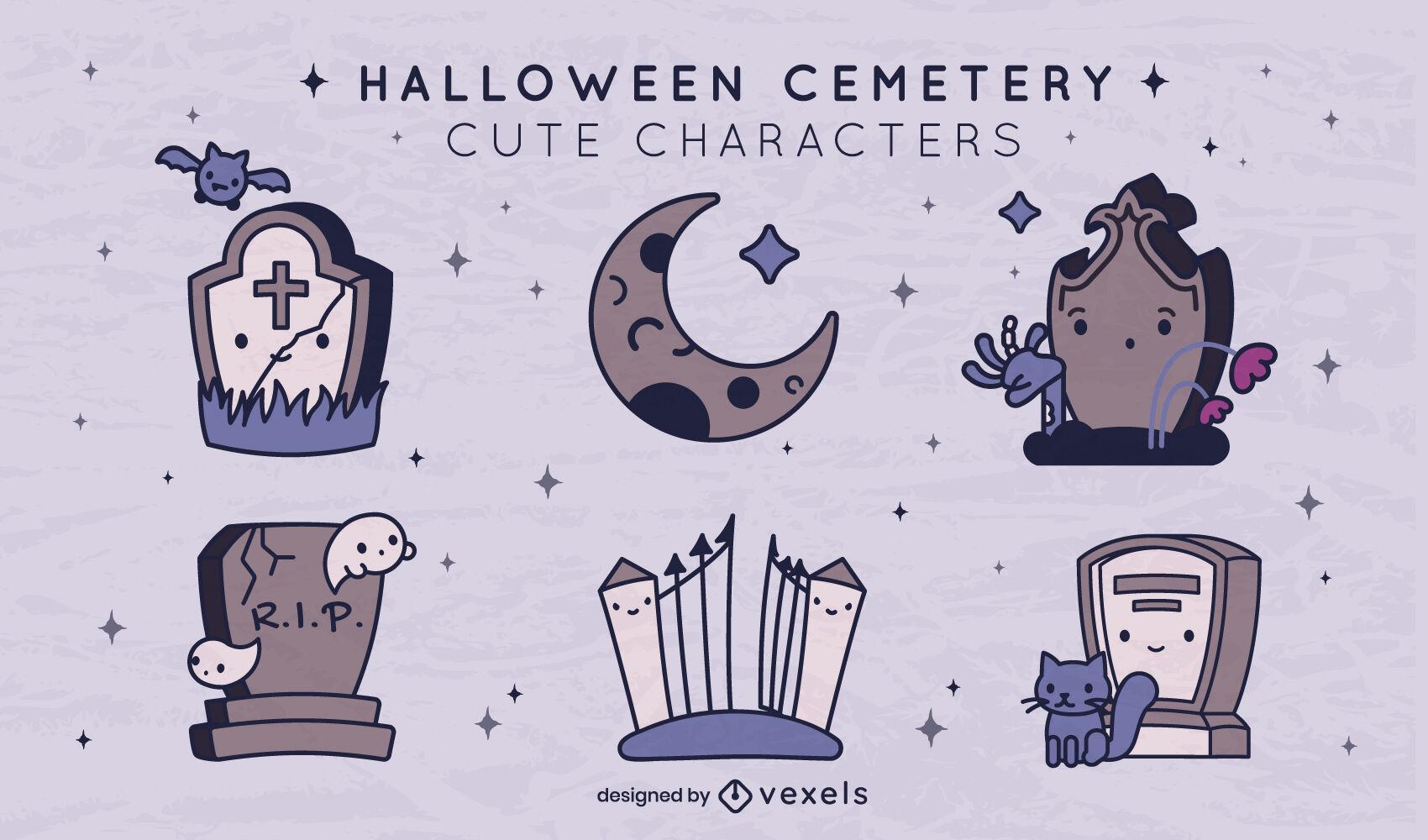 Halloween cemetery cute elements set