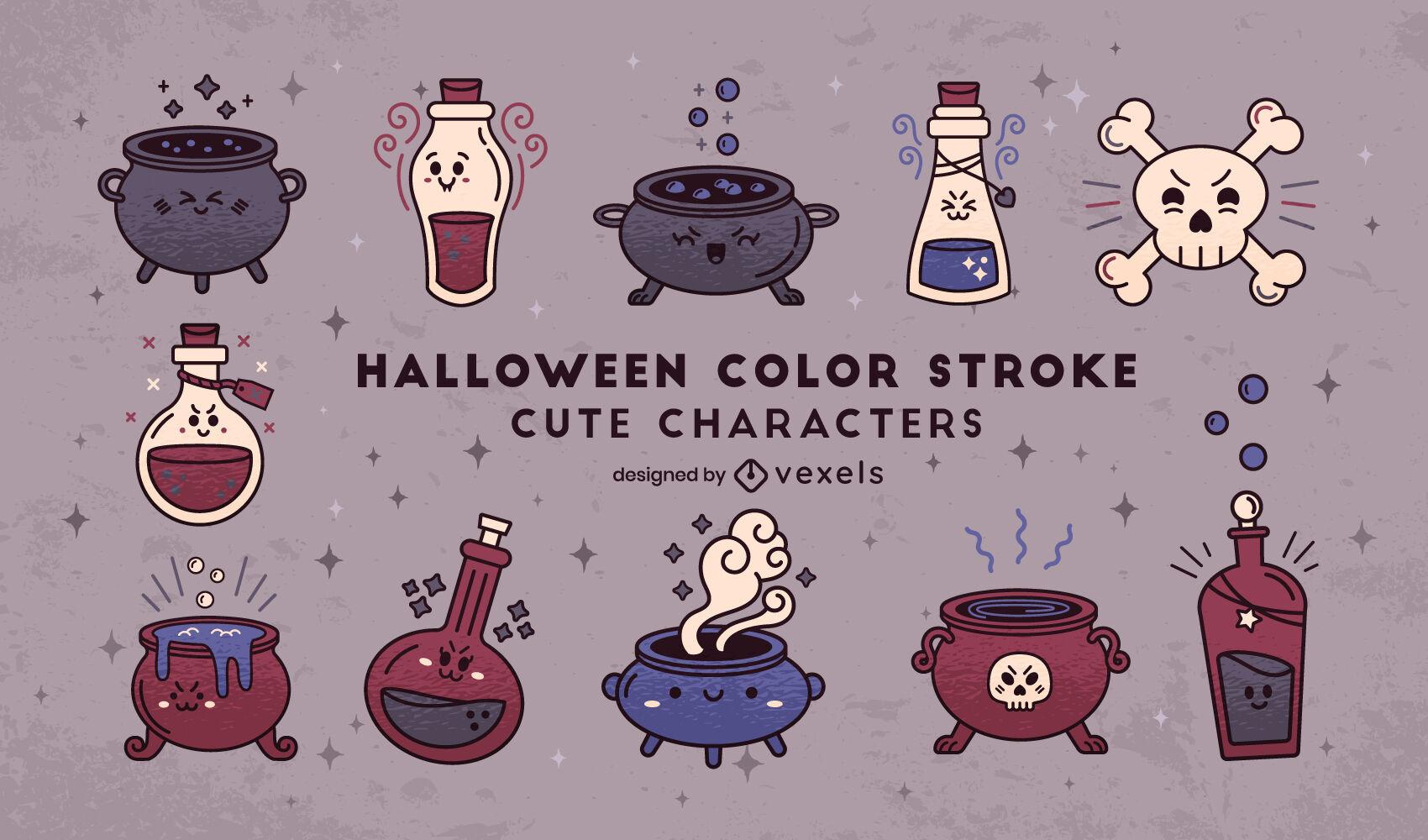 Conjunto lindo de brujería de poción mágica de halloween