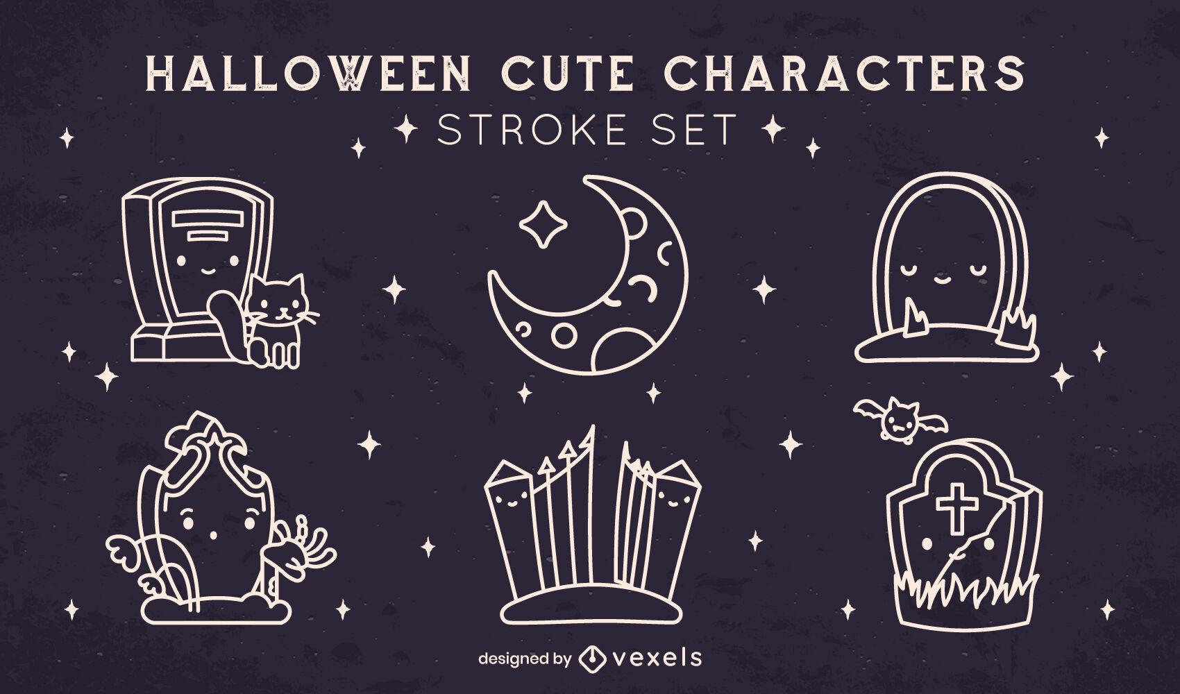 Halloween cemetery stroke elements set