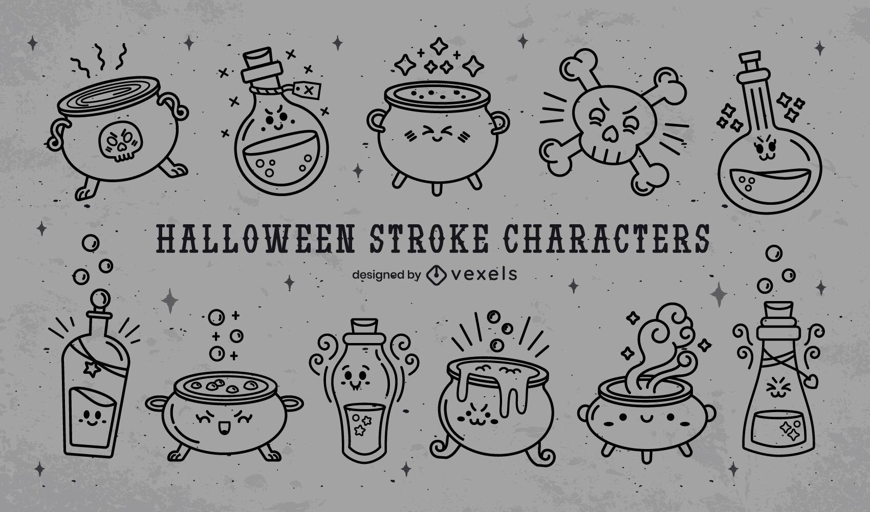 Conjunto de brujería de poción mágica de halloween