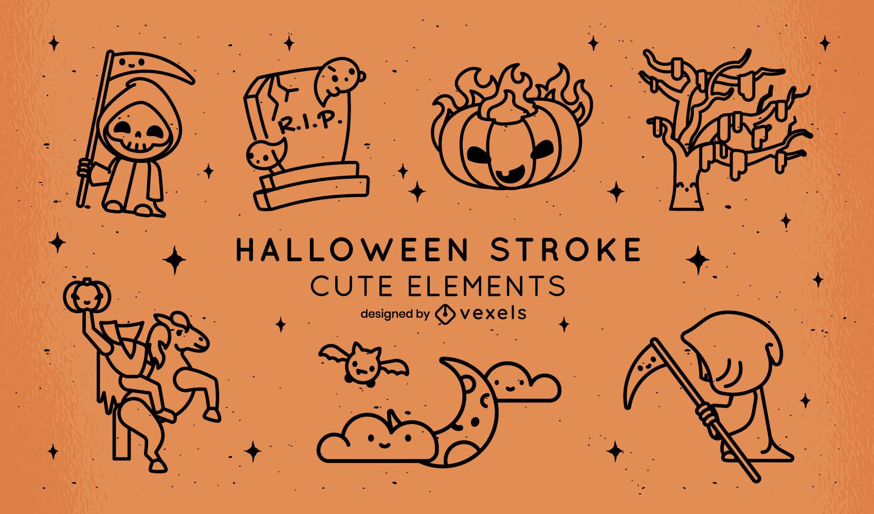 Halloween night cute elements stroke set