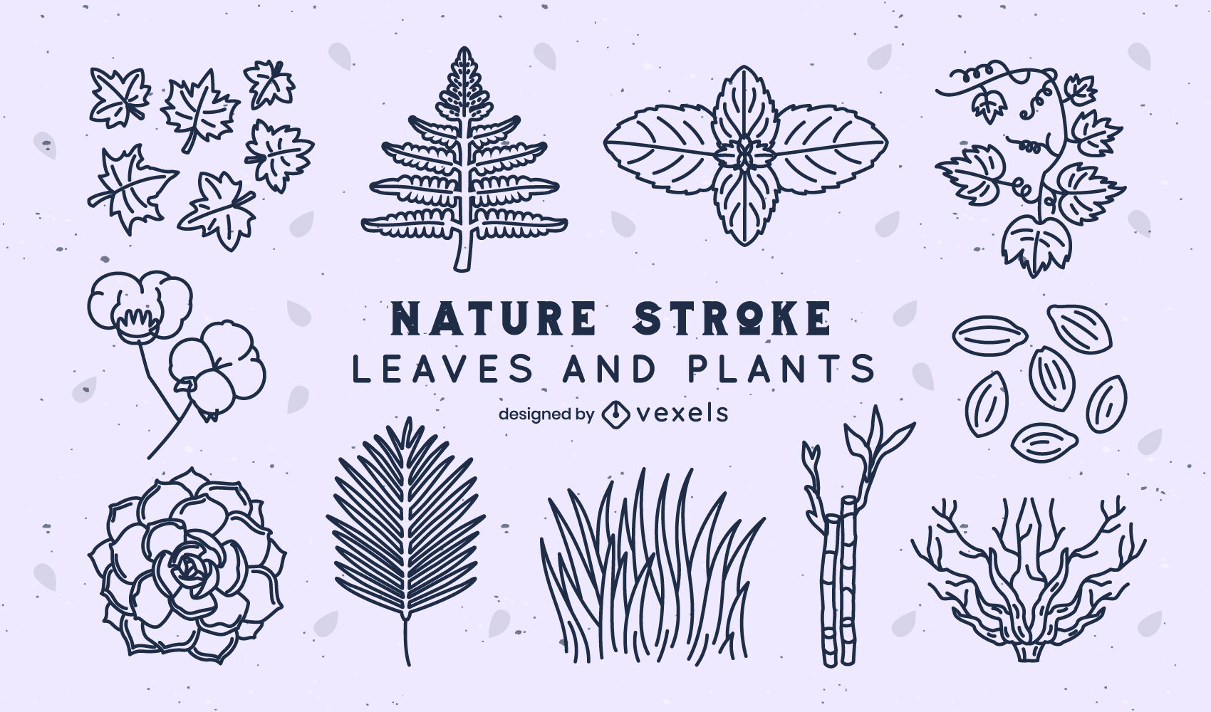 Leaves and plants nature stroke pack