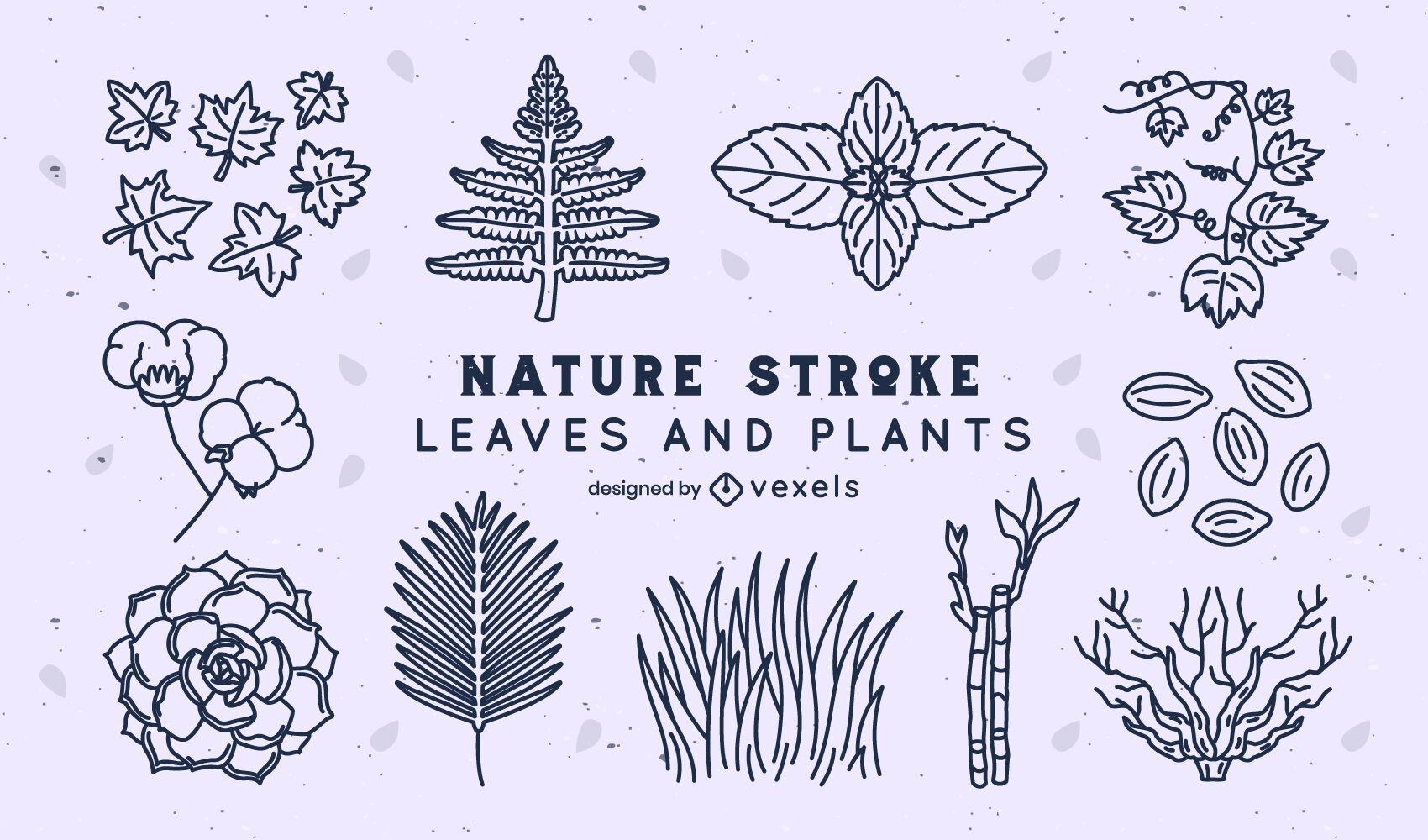 Paquete de trazos de naturaleza de hojas y plantas.