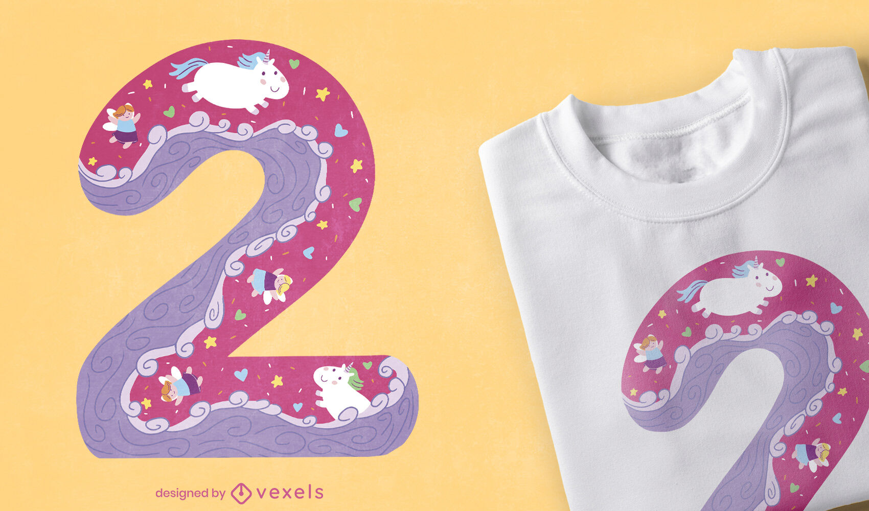 Nummer zwei mädchenhaftes T-Shirt-Design