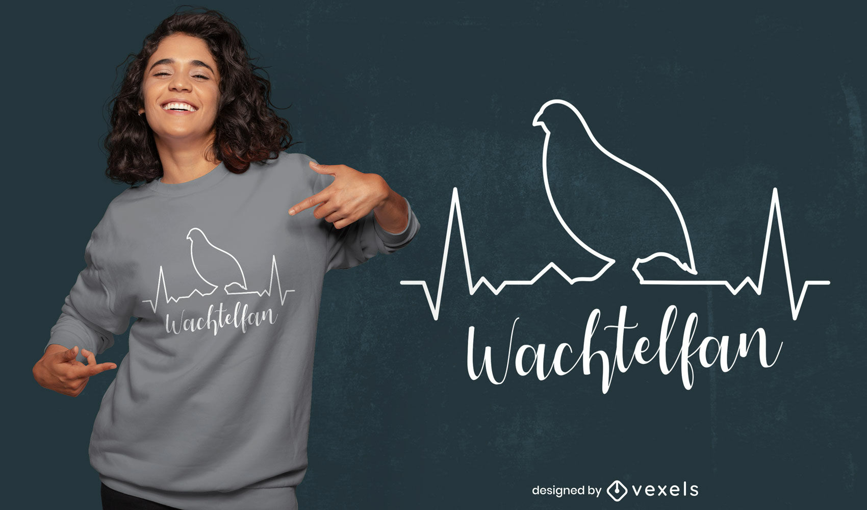 Design de camiseta de batida de coração de pássaro codorniz