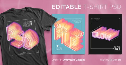 T-shirt psd escalonável com efeitos de brilho e gradiente do texto