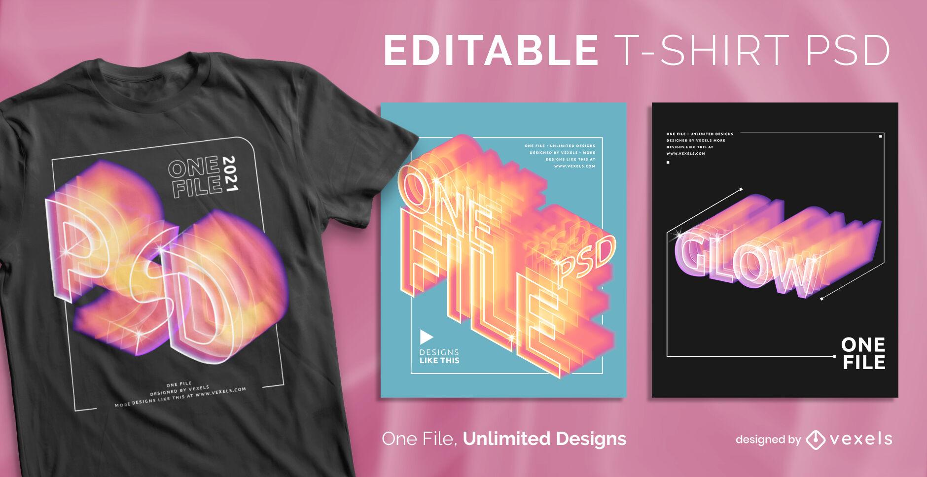 Camiseta psd escalable con efectos de degradado y brillo de texto