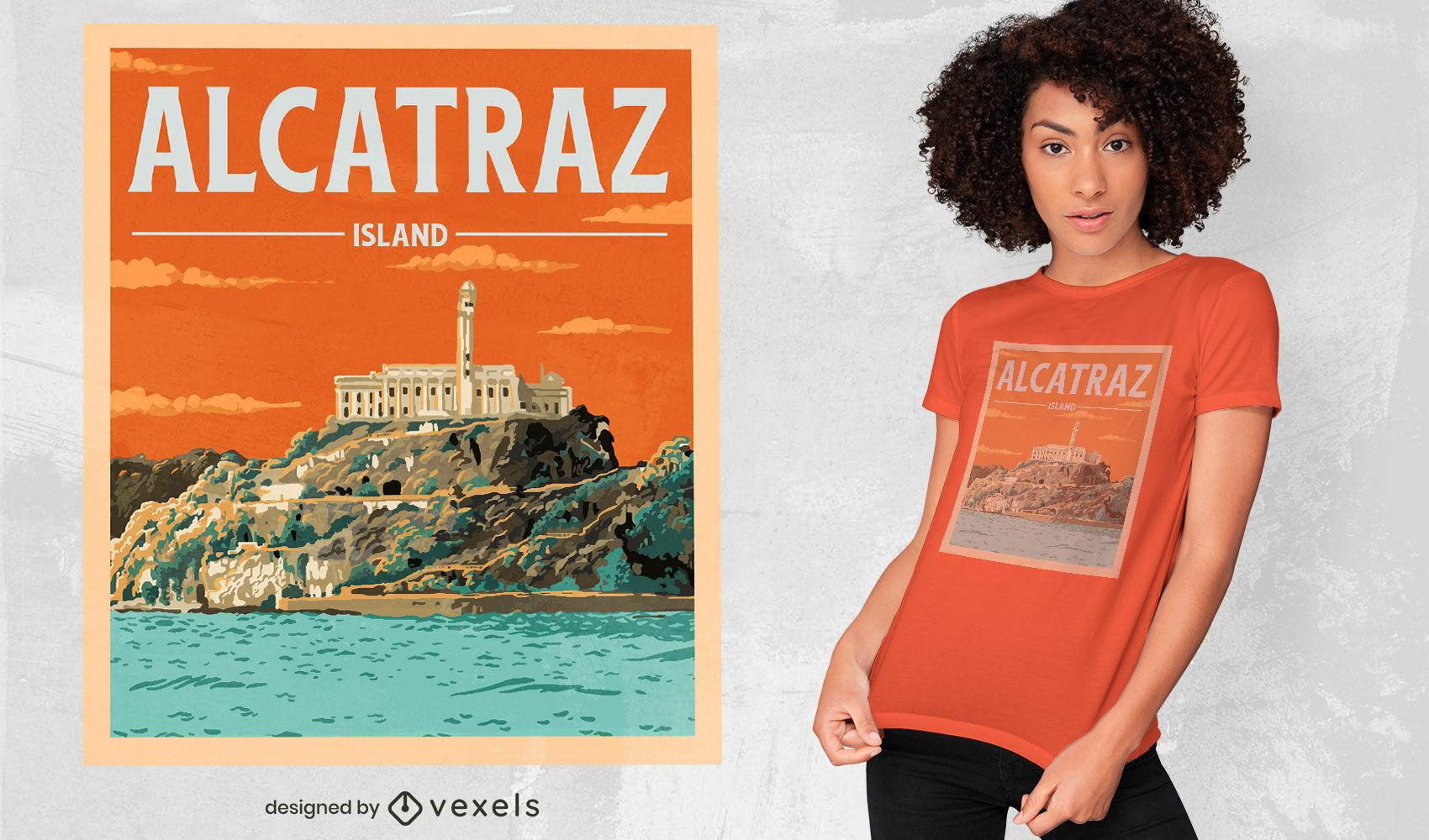 Diseño de camiseta de cartel de viaje de prisión de Alcatraz.