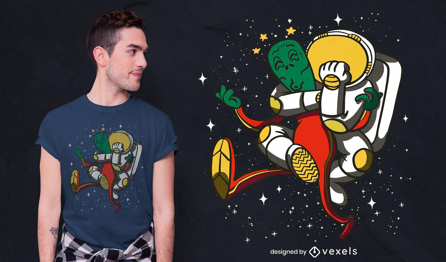 Astronaut kämpft gegen Alien-Cartoon-T-Shirt-Design