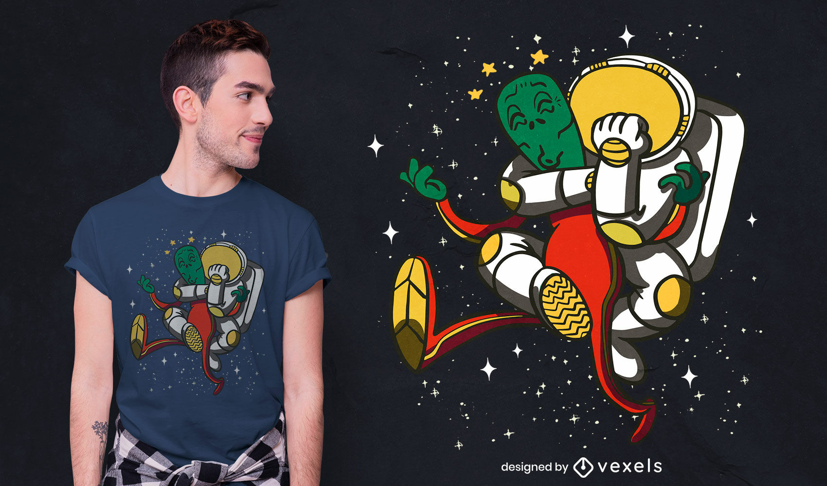 Diseño de camiseta de dibujos animados de astronauta luchando alienígena