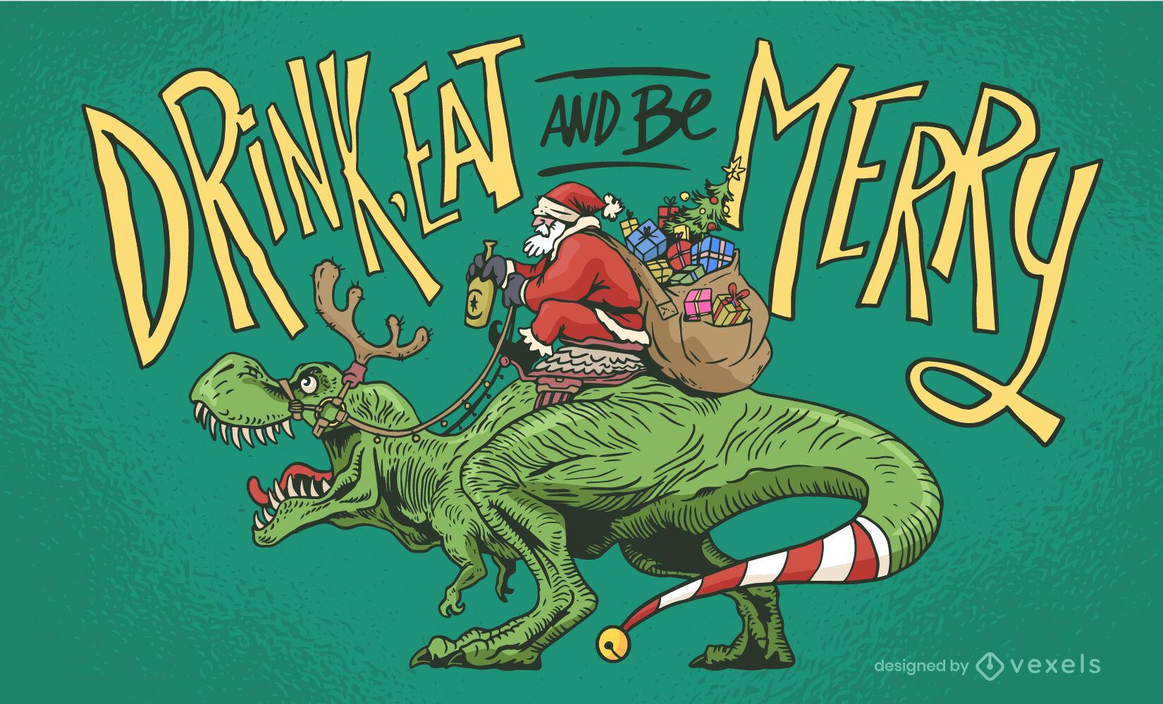 Ilustraci?n de dinosaurio de navidad de santa claus