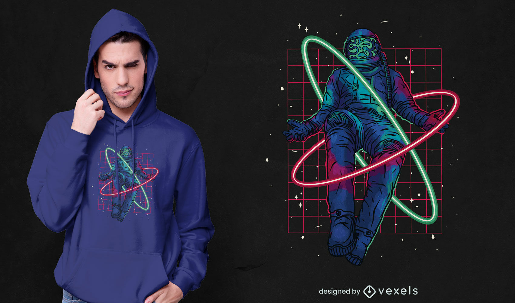 Floating astronaut neon t-shirt design psd