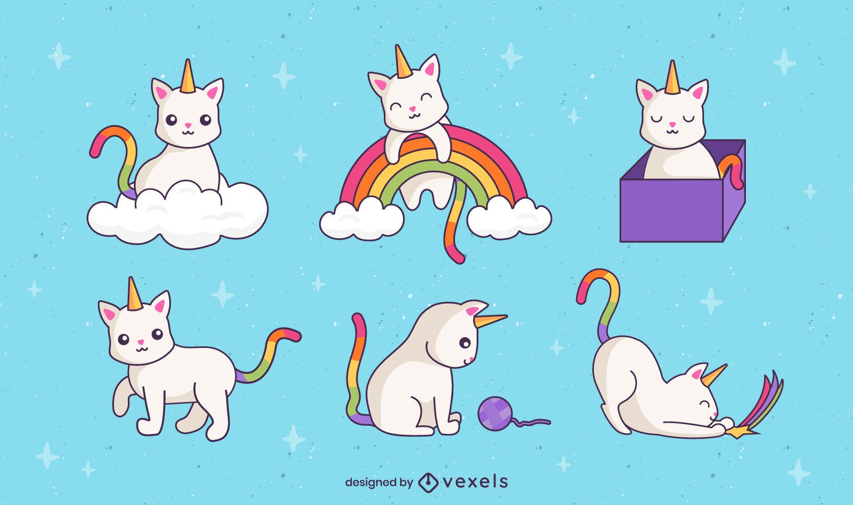 Conjunto de arco-íris fofinho de animais gato unicórnio