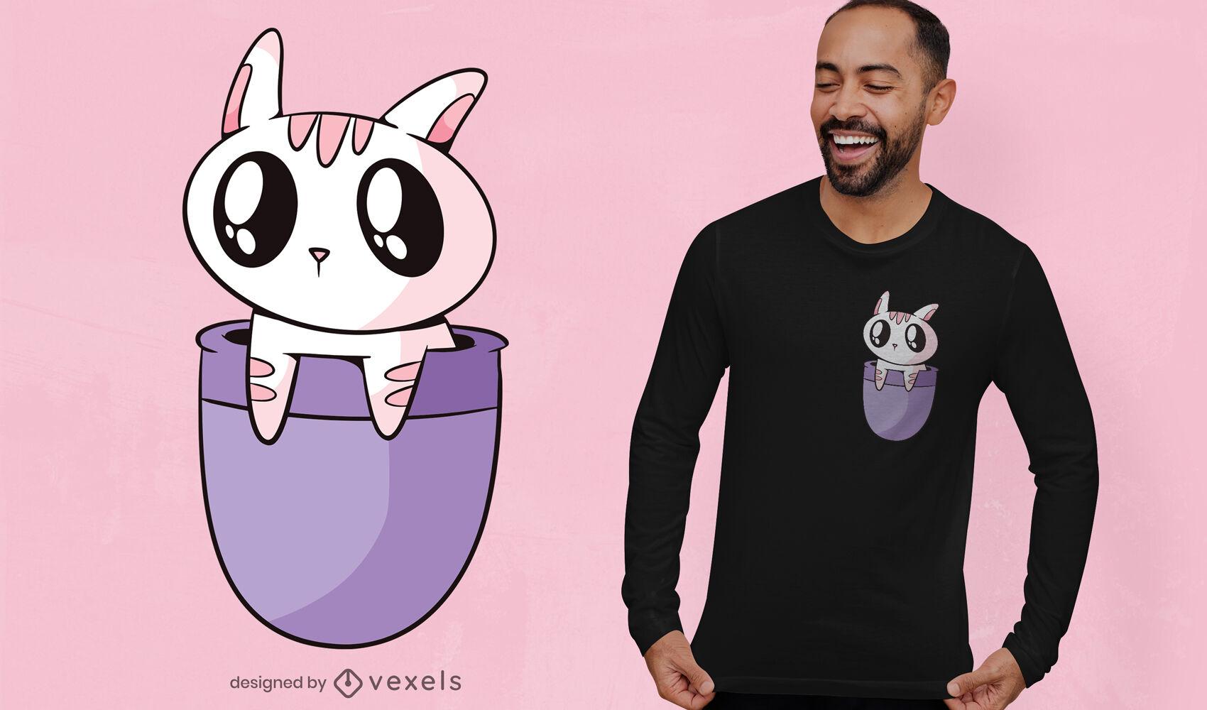 Diseño de camiseta de gato kawaii en bolsillo