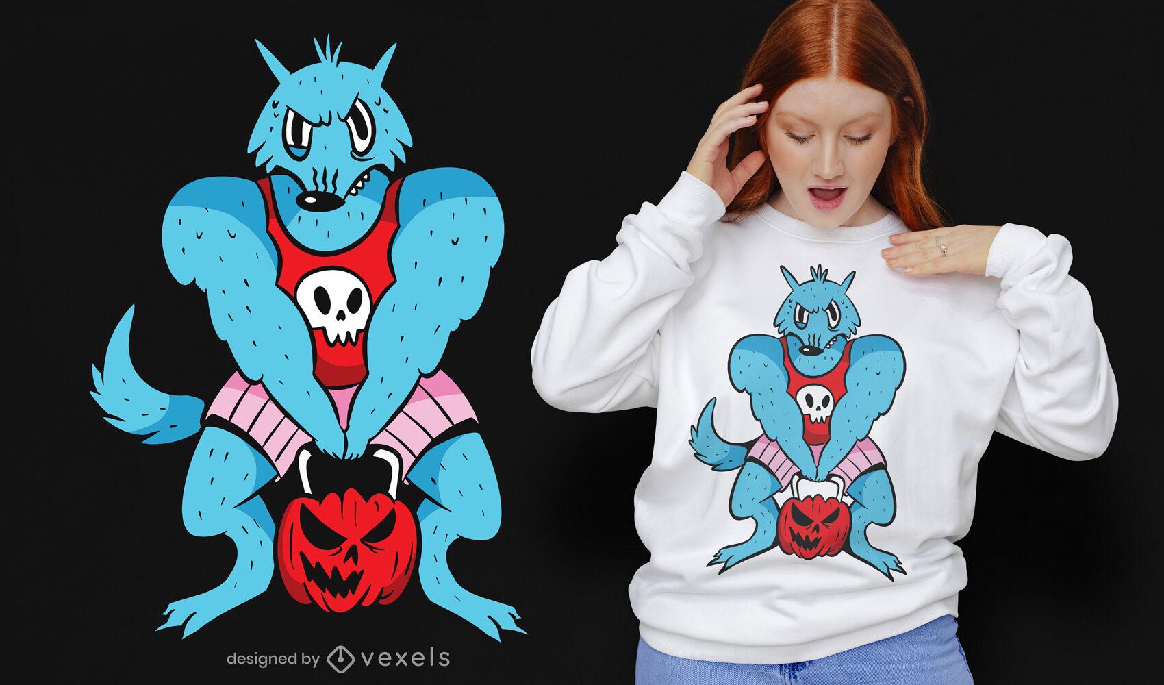 Diseño de camiseta de dibujos animados de calabaza de levantamiento de gimnasio de hombre lobo