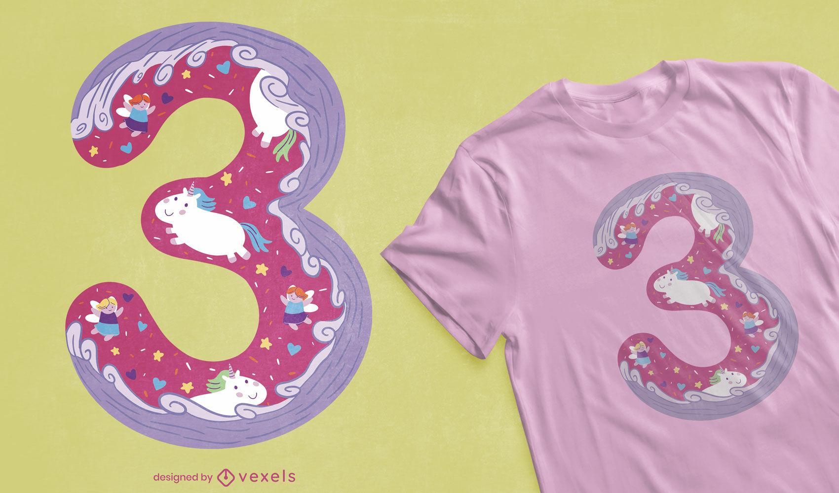 Nummer drei mädchenhaftes T-Shirt-Design