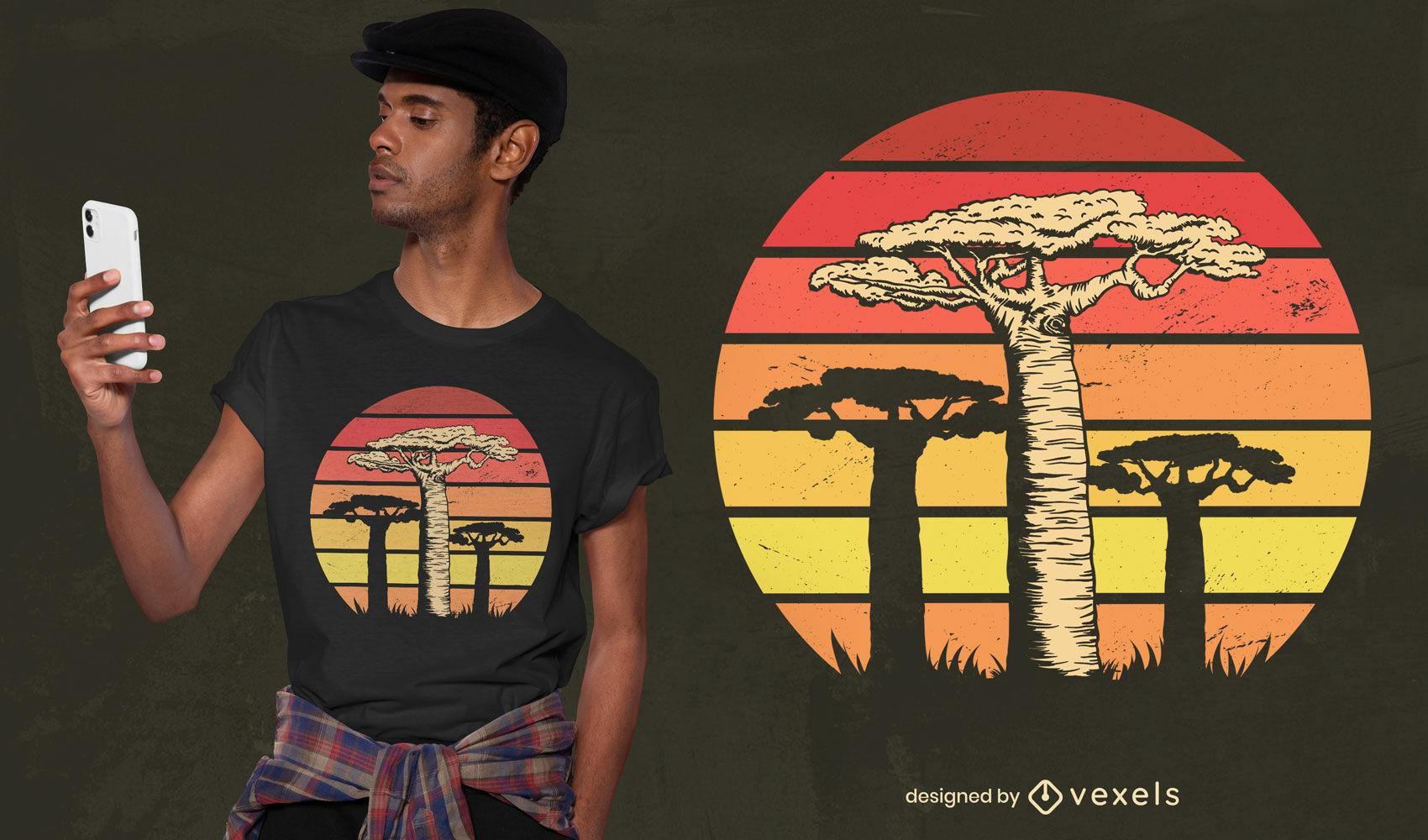 Desenho de camiseta retro do pôr do sol de árvores africanas Baobab