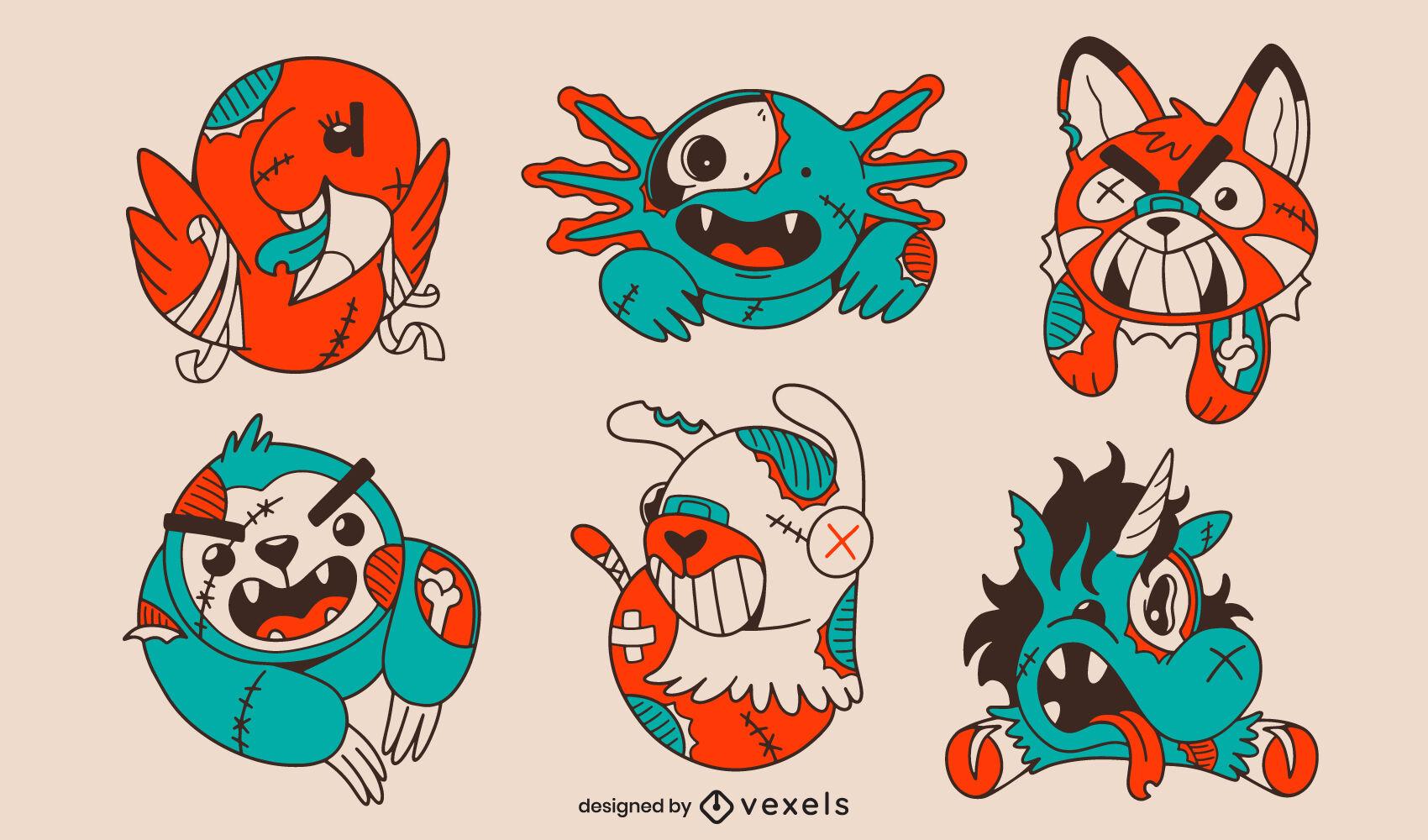 Zombie animals illustrations set cartoon