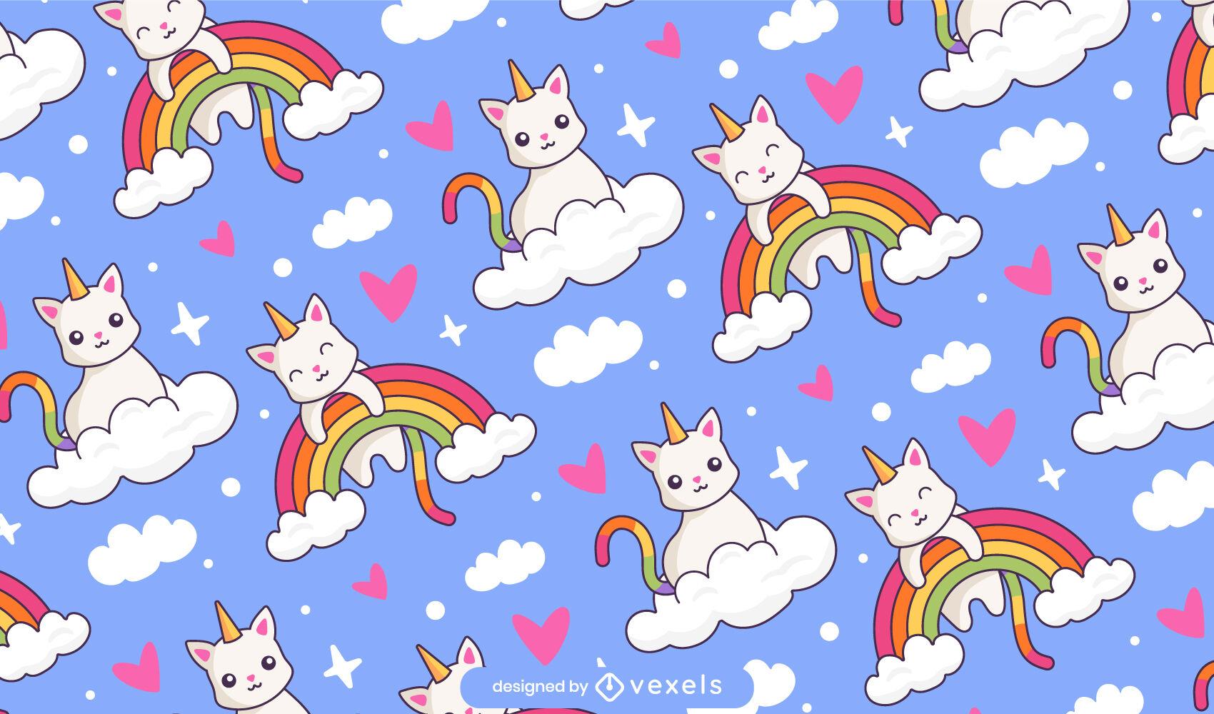 Animais gato unicórnio em padrão de arco-íris