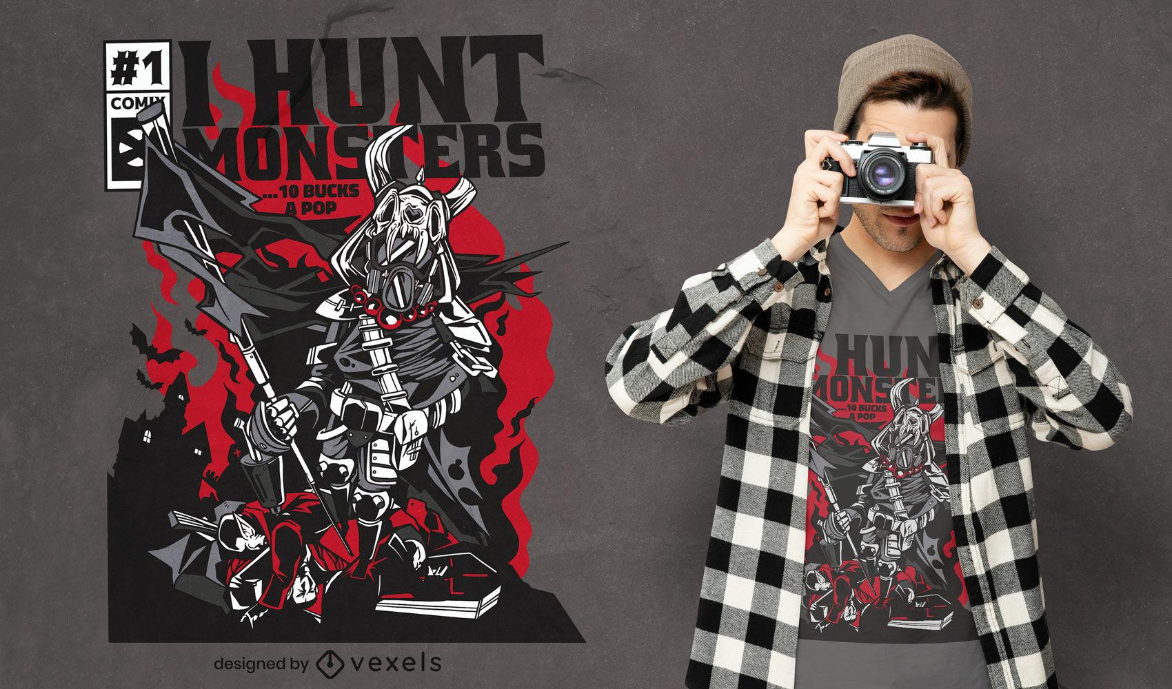 Diseño de camiseta de portada de cómic de monster hunter warrior