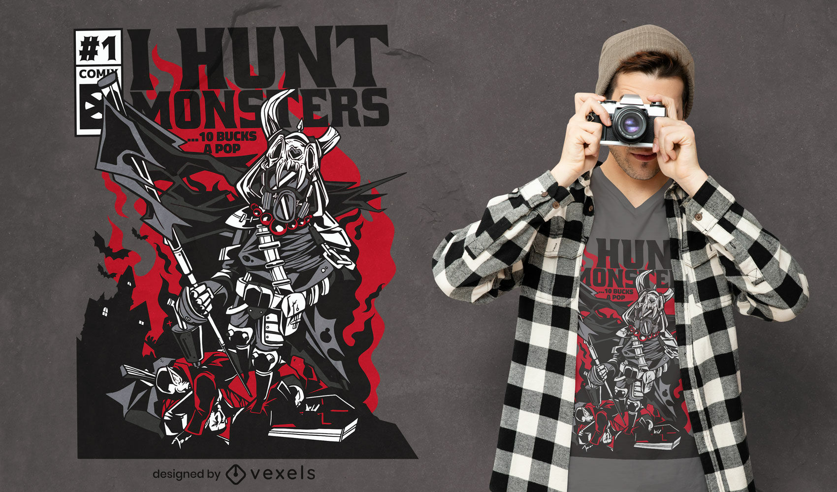 Monster hunter warrior comic book cover t-shirt design