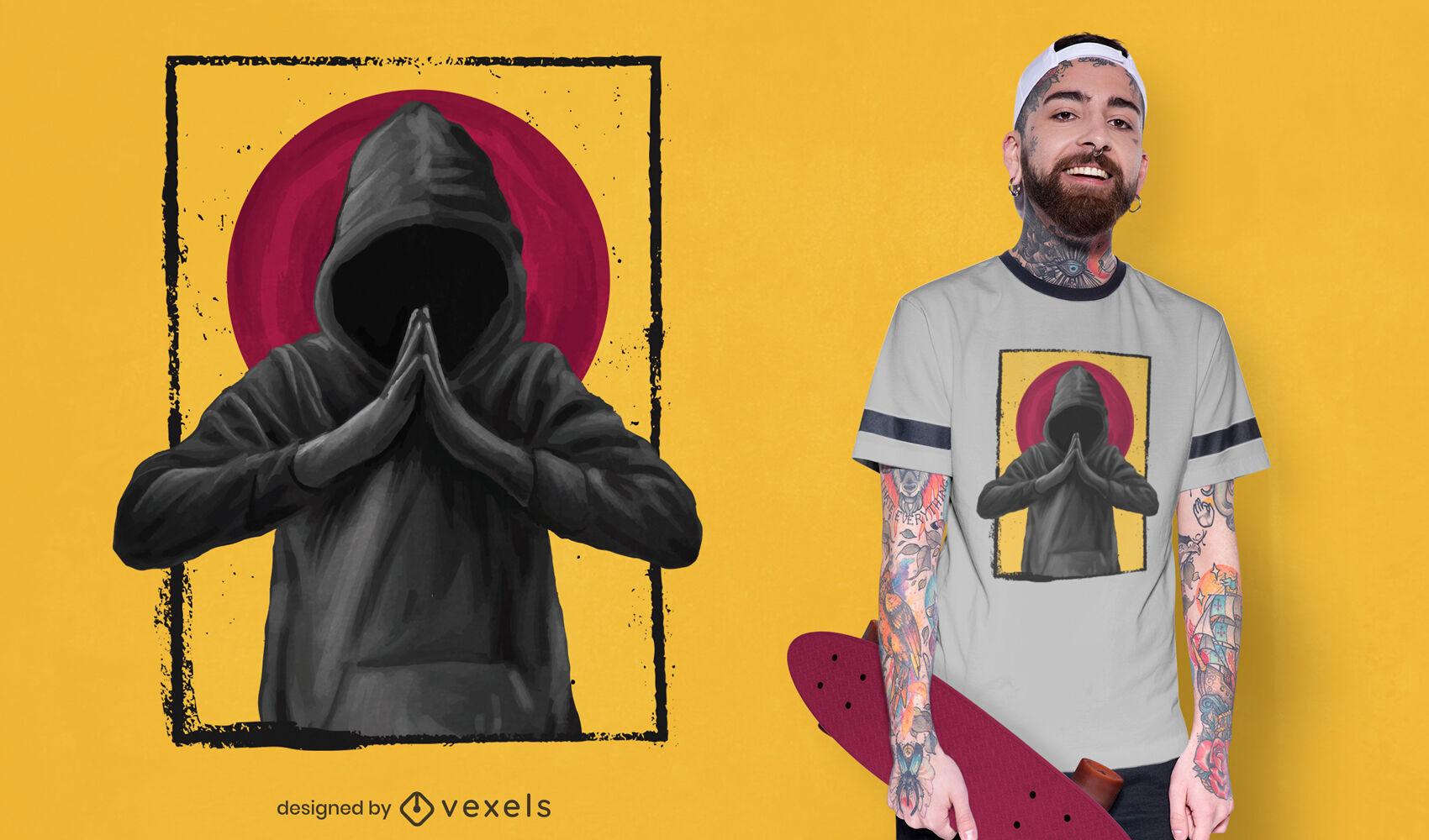 Hombre rezando en un dise?o de camiseta realista de capucha