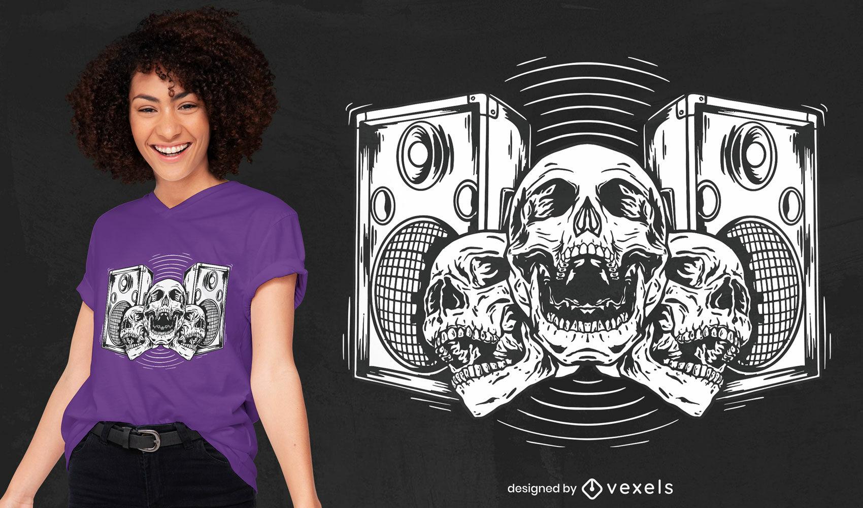 Design de t-shirt desenhada à mão para altifalantes e caveiras