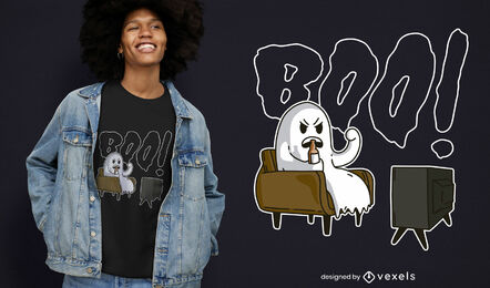 Funny boo ghost watching tv t-shirt design