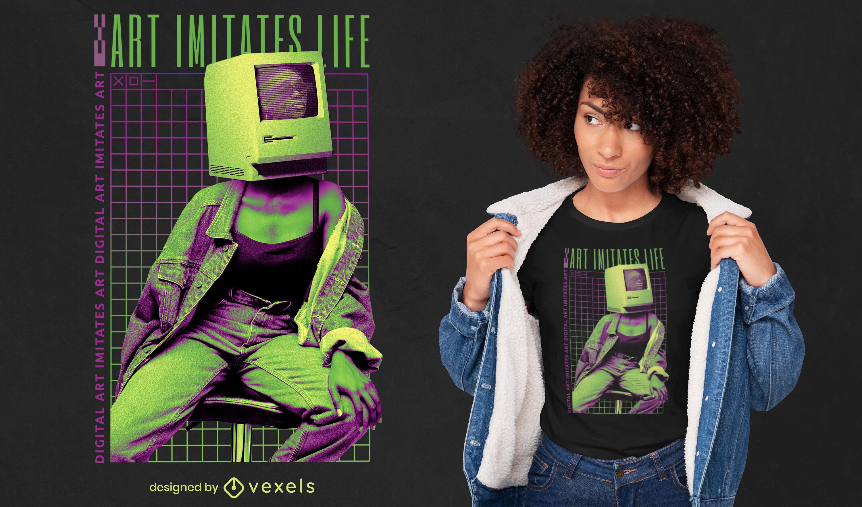 Wireframe computer girl psd t-shirt design