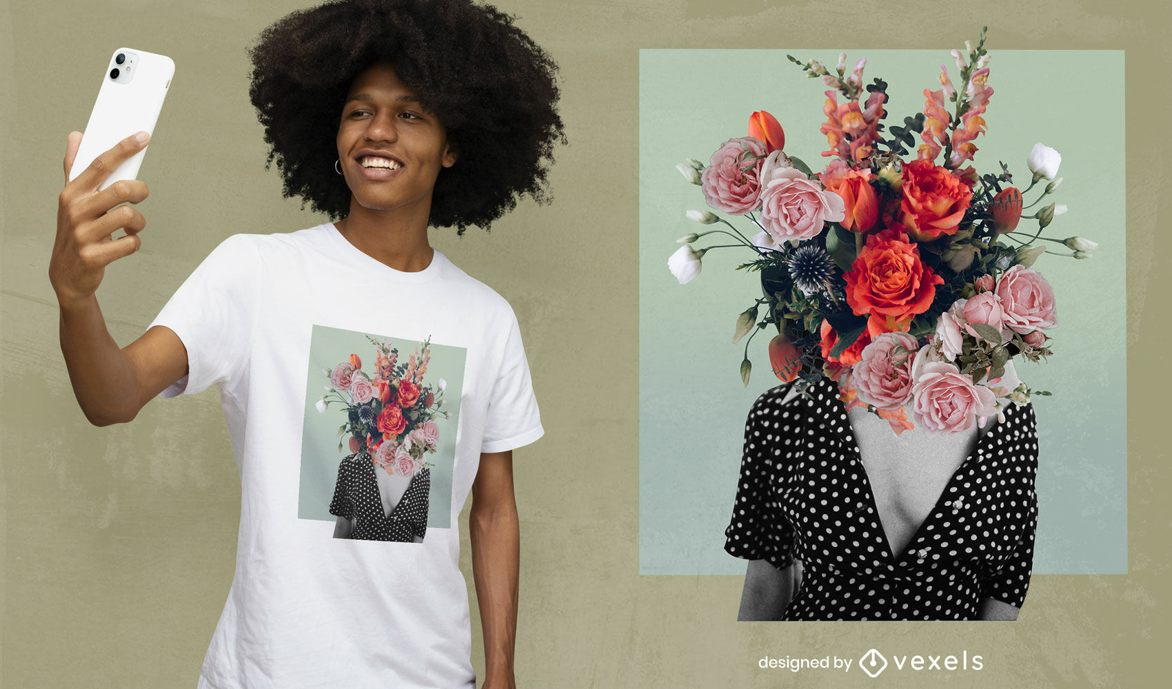 Blooming flowers girl head collage psd t-shirt design