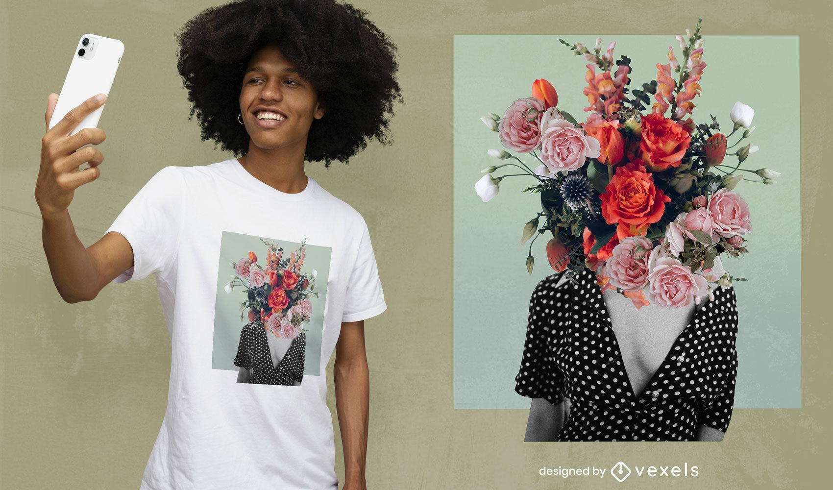 Flores desabrochando menina cabeça colagem psd design de t-shirt