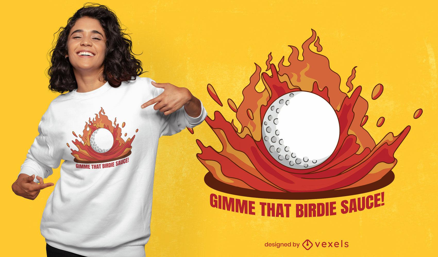 Diseño de camiseta de pajarito de pelota de golf.