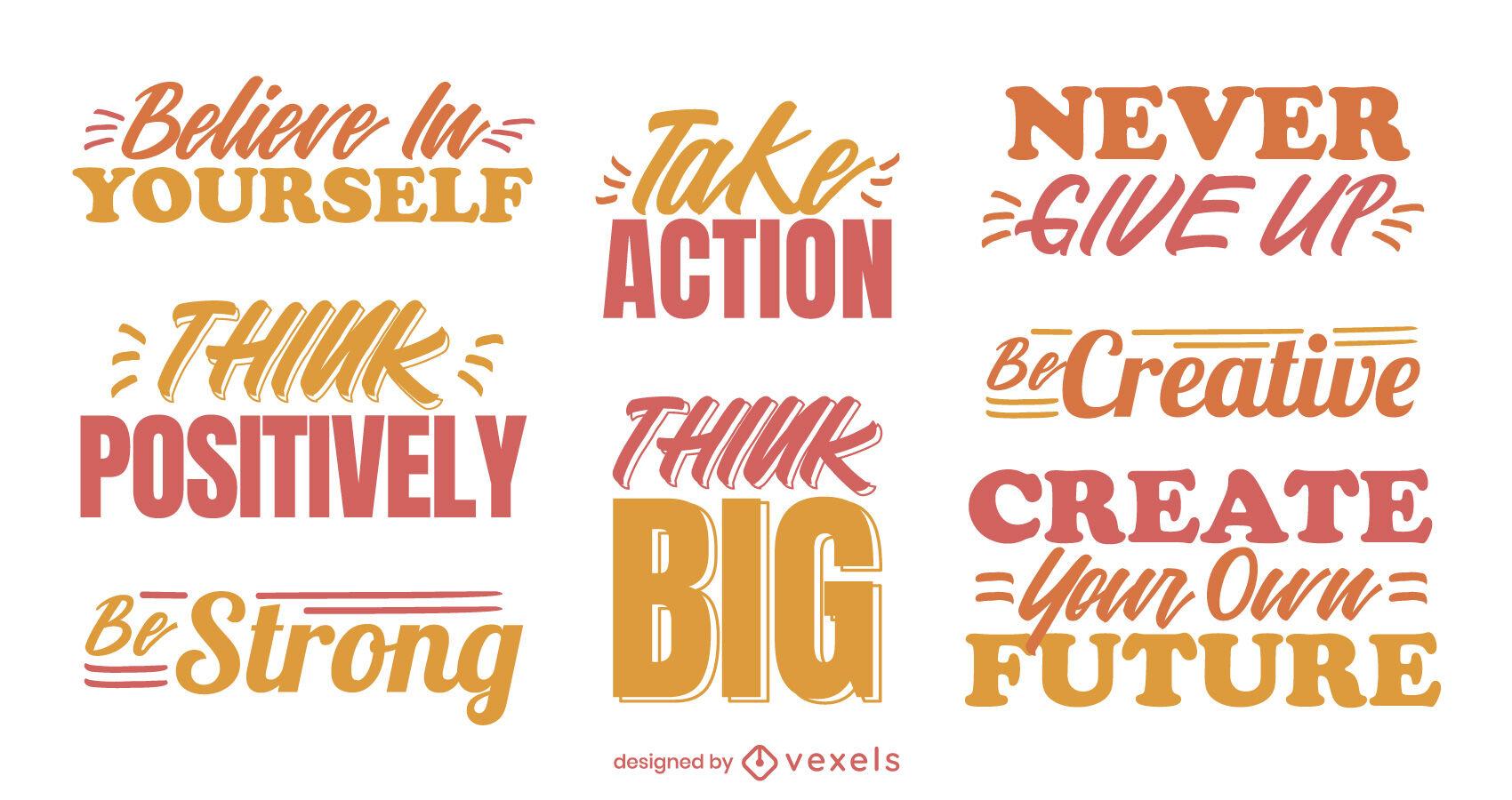 Conjunto de citas motivacionales geniales