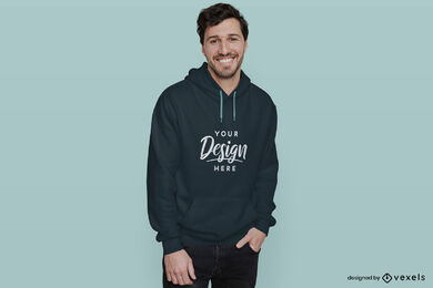 Dark blue hoodie mockup man in flat background