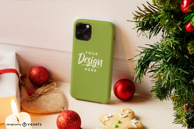 Green phone case mockup christmas