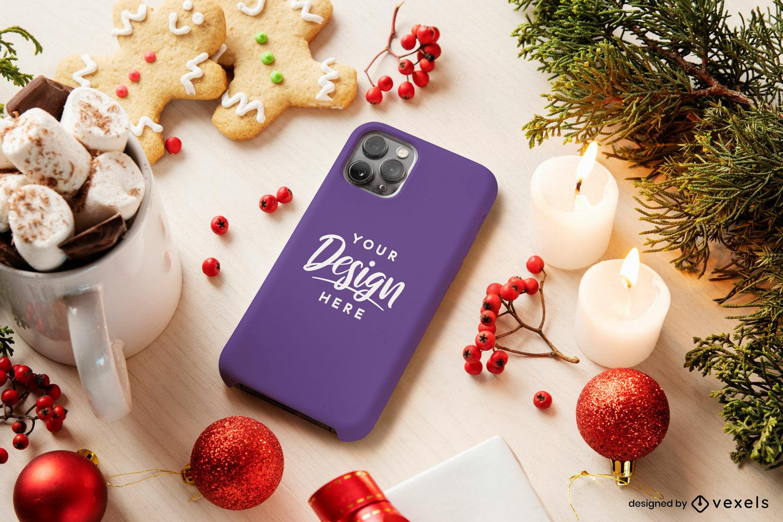 Maquete de capa de telefone roxa de Natal