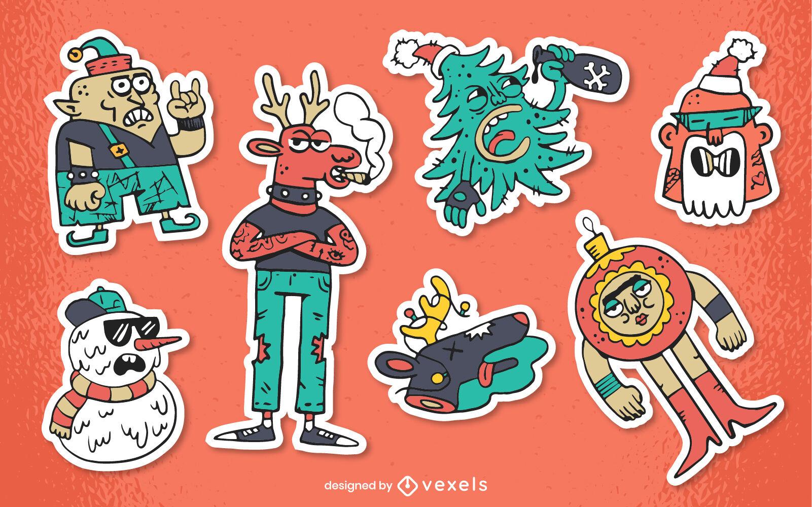 Anti christmas cartoon characters sticker set