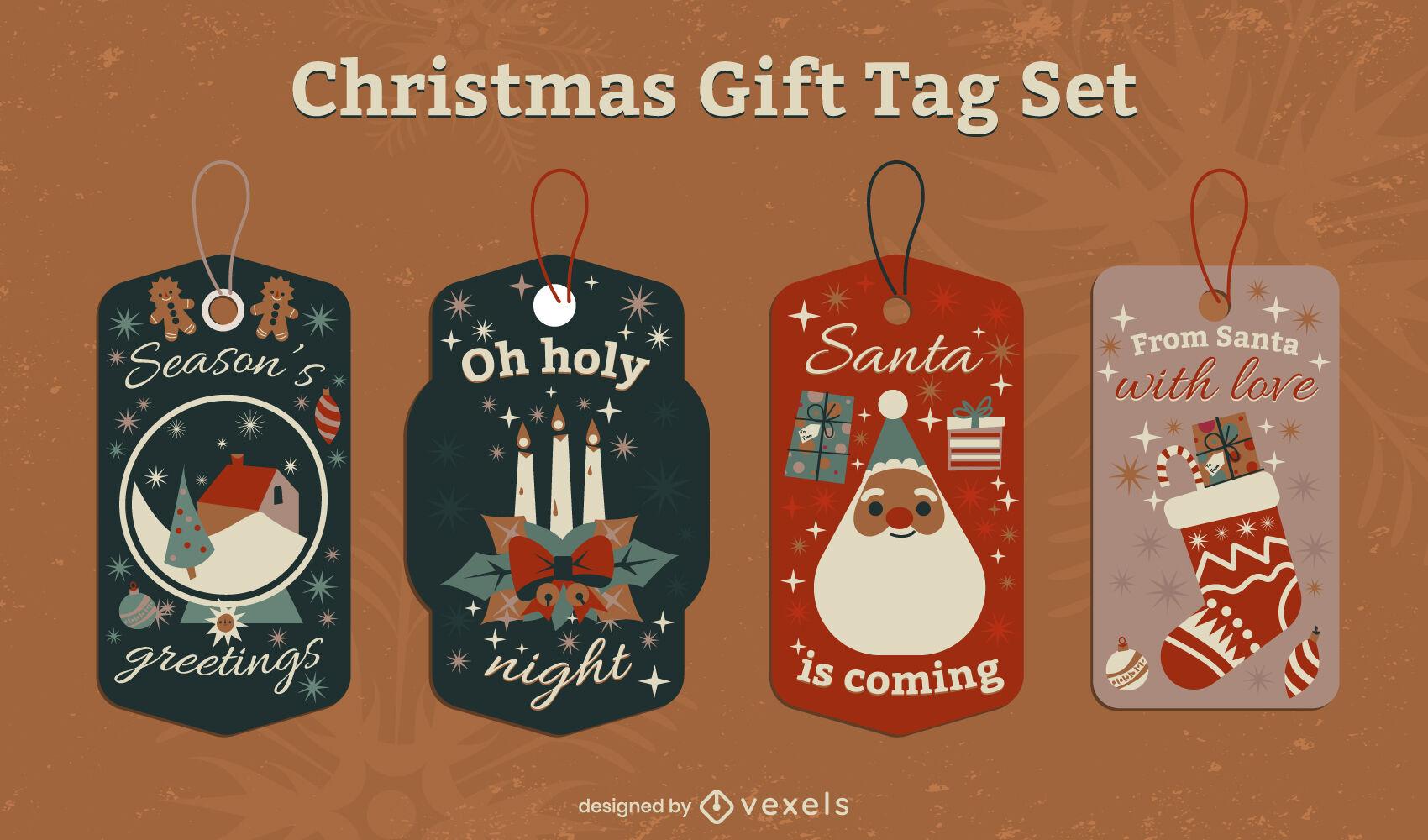 Traditional christmas holiday price tag set