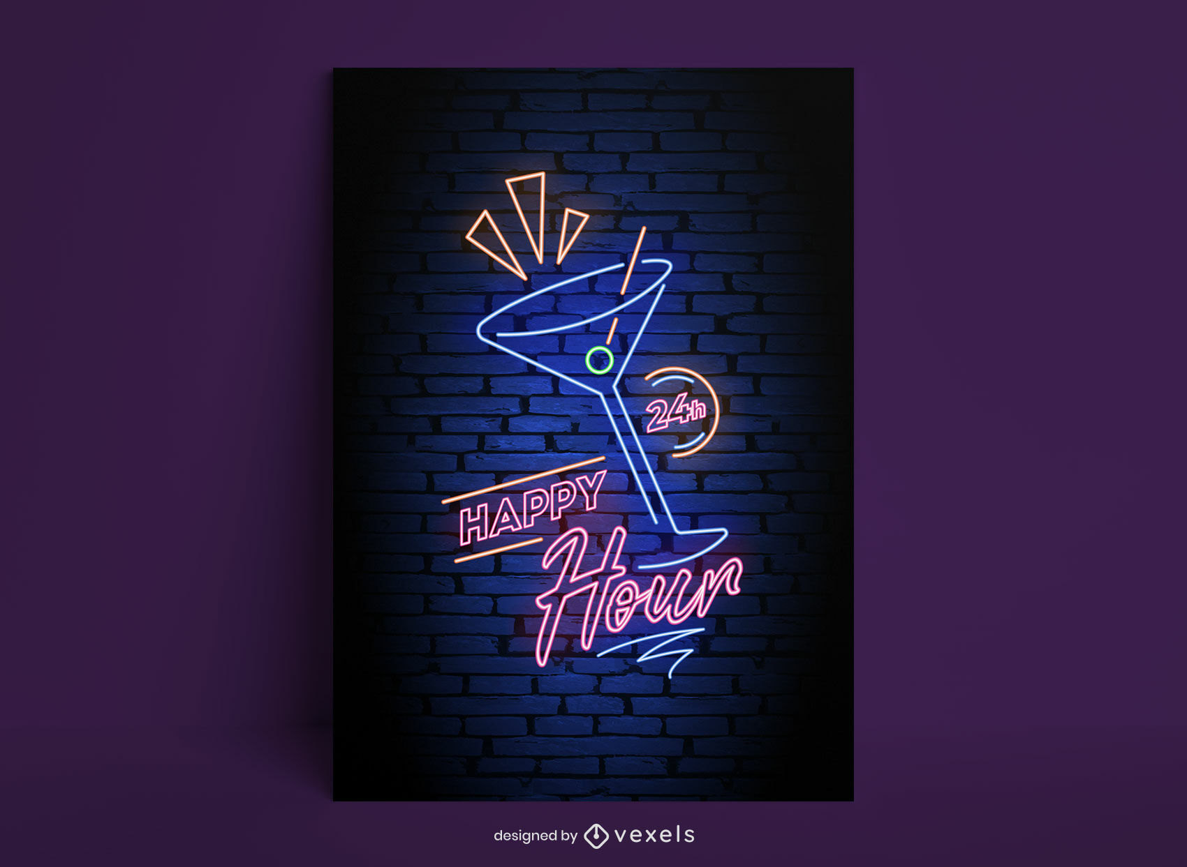 Modelo de pôster de néon para coquetel de happy hour