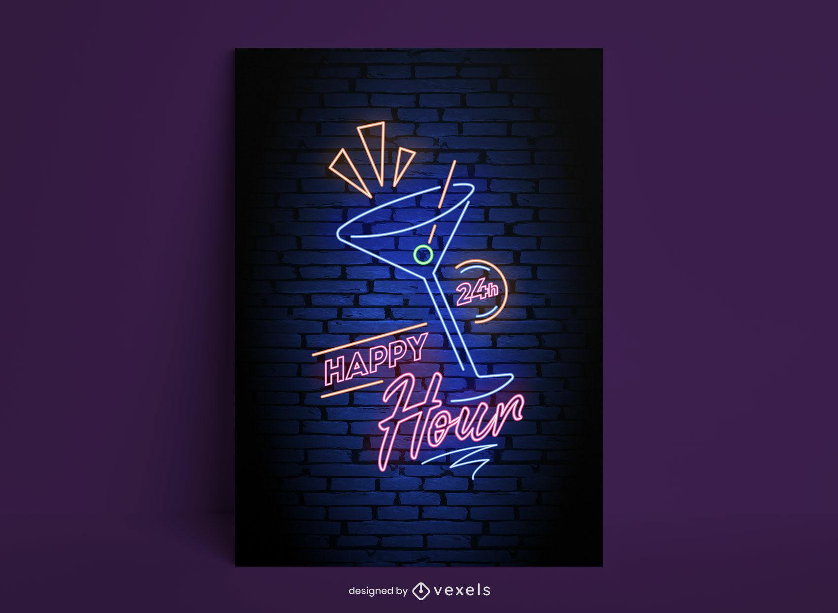 Plantilla de cartel de neón de bebida de cóctel de happy hour